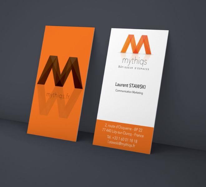 Conception Carte de Visite Mythiqs par l'agence de communication La Stratégie Créative (Meaux 77)