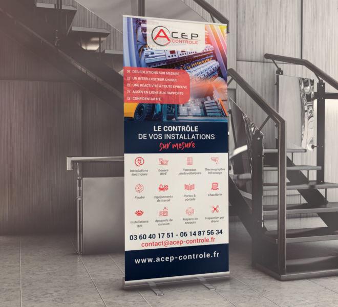 Conception d'un Roll up pour Acep Controle Bureauc de Contôle à Compiègne (60) par La Stratégie Créative, agence de communication